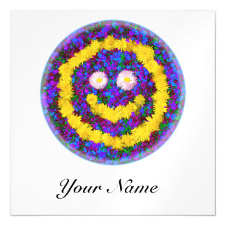 Happy Smiley Face Dandelion Flowers Magnetic Invitations