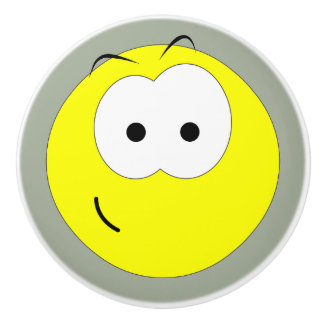 Happy Smiley Face Emoticon Ceramic Knob