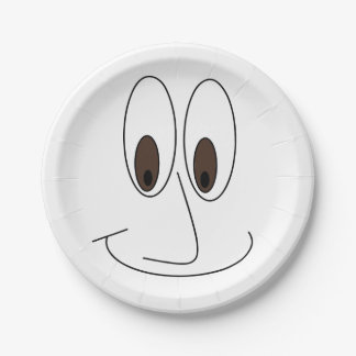 Happy Smiley Face Print Fun Paper Plate