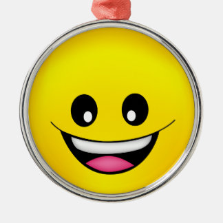 Happy Smiley Face Silver-Colored Round Ornament