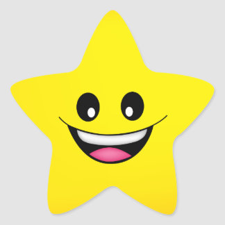 Happy Smiley Face Star Sticker