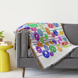 Happy Smiley Faces Throw Blanket