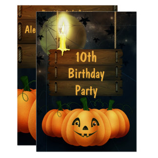 Happy Smiley Pumpkins 10th Birthday Party Card