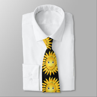 happy smiley sun shine. black background tie