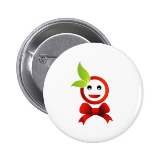 Happy smiley with green leaves 2 inch round button