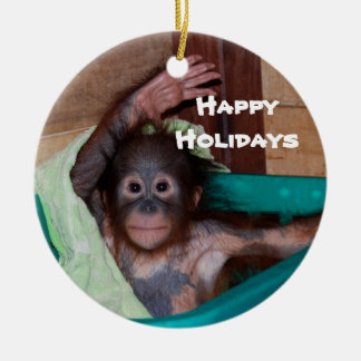 Happy Smiling Animal Baby Holiday Ceramic Ornament