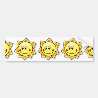 Happy Smiling Cartoon Sun Bumper Sticker