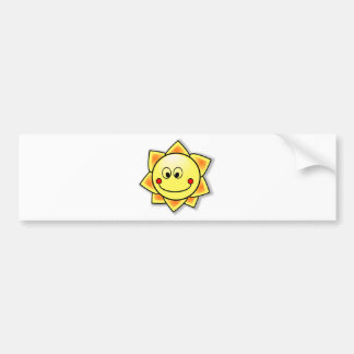 Happy Smiling Cartoon Sun Bumper Sticker