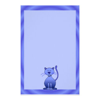 Happy Smiling Cat Blue Cute Kids Stationery Paper
