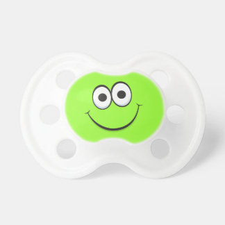 Happy smiling green cartoon smiley face funny pacifier