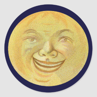 Happy Smiling Moon Face Round Sticker
