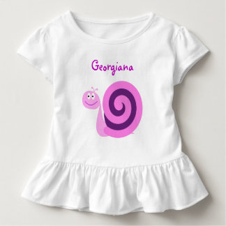Happy Smiling Pink & Purple Snail; Custom Name Toddler T-shirt