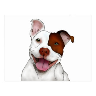 Happy Smiling Pitbull Postcard