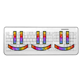 Happy, Smiling, Proud, Rainbow-Colored Faces Wireless Keyboard