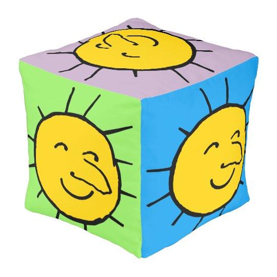 Happy Smiling Sun Face Design Cube Pouf