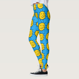 Happy Smiling Sun Face Pattern Leggings