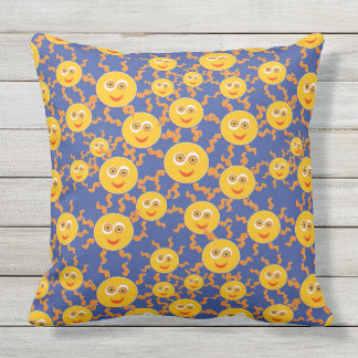 Happy Smiling Sun Faces Pattern Throw Pillow