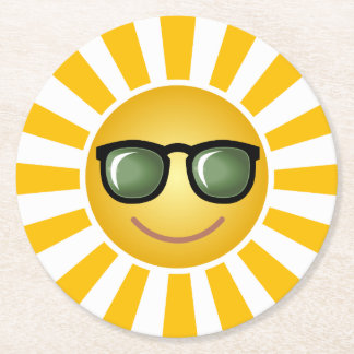 Happy Smiling Sun Round Paper Coaster