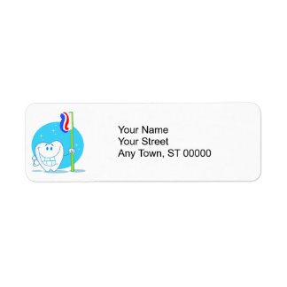 Happy Smiling Tooth With Toothbrush Return Address Label