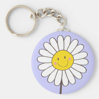 Happy Smiling Whimsical Daisy Keychain