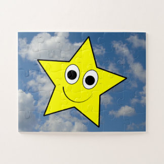 Happy, Smiling, Yellow Star Character + Sky Jigsaw Puzzle