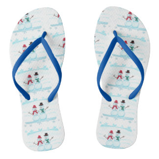 Happy Snow Couple Waving Hi Holiday FlipFlops