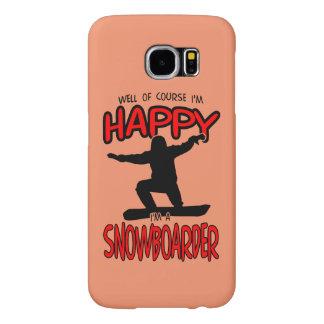 Happy SNOWBOARDER (Black) Samsung Galaxy S6 Cases