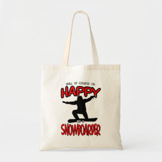 Happy SNOWBOARDER (Black) Tote Bag