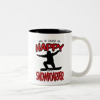 Happy SNOWBOARDER (Black) Two-Tone Coffee Mug