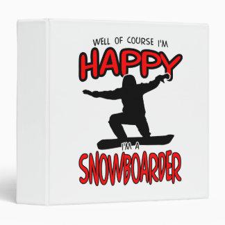 Happy SNOWBOARDER (Black) Vinyl Binder