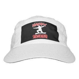 HAPPY SNOWBOARDER in WHITE Headsweats Hat