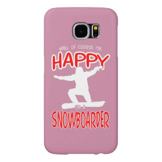 HAPPY SNOWBOARDER in WHITE Samsung Galaxy S6 Cases