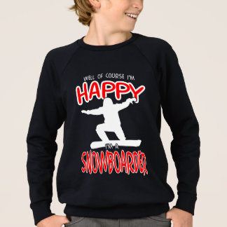 HAPPY SNOWBOARDER in WHITE Sweatshirt