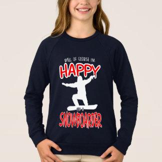 HAPPY SNOWBOARDER in WHITE Sweatshirt