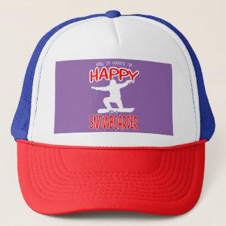 HAPPY SNOWBOARDER in WHITE Trucker Hat