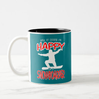 HAPPY SNOWBOARDER in WHITE Two-Tone Coffee Mug