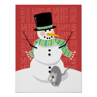 Happy Snowman and Cute Grey Cat Text Design Poster