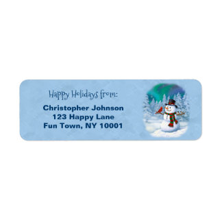 Happy Snowman and Winter Birds Return Address Label