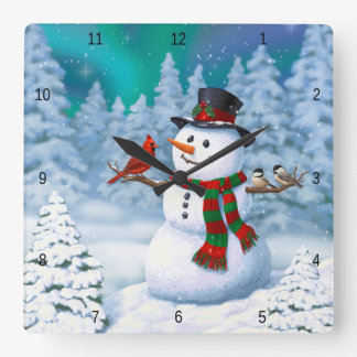 Happy Snowman and Winter Birds Square Wall Clock