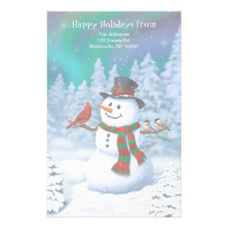 Happy Snowman and Winter Birds Stationery