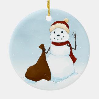 Happy snowman ceramic ornament