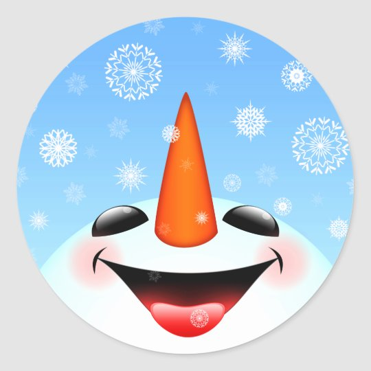 Happy Snowman Classic Round Sticker