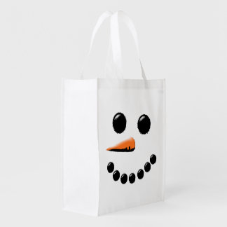 Happy Snowman Face Winter Holiday Market Totes