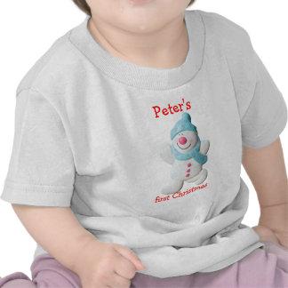 Happy snowman first christmas custom boys name t-shirt
