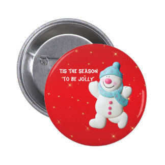 Happy Snowman fun custom christmas button, pin, 2 Inch Round Button