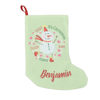 Happy Snowman Green Christmas Small Christmas Stocking