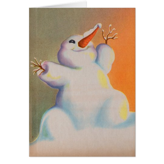 happy snowman greets the morning card