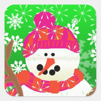Happy Snowman Holiday Square Sticker