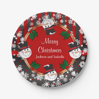 Happy Snowman Holidays Paper Plate