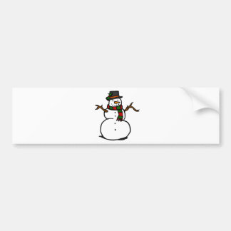 Happy Snowman in Top Hat and Red and Green Scarf Bumper Sticker